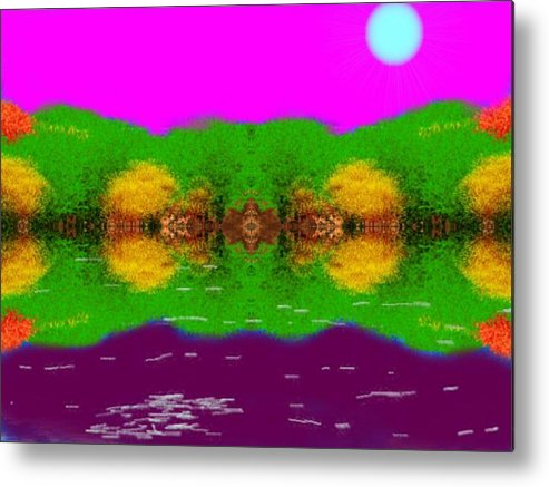 Sky.moon.coast Trees.water Mirror.reflection.silence.rest.miraclt. Metal Print featuring the digital art Face To Face.night Mirror by Dr Loifer Vladimir