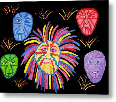 Metal Print featuring the painting Faces Out Of The Dark by Betty Roberts