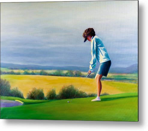 Golfer Metal Print featuring the painting Fairy Golf Mother by Shannon Grissom