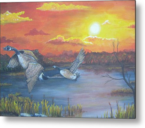 Landscape Wildlife Ducks Sunset Metal Print featuring the painting Fall And Flight by Sandra Garben