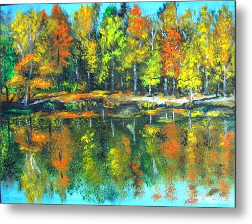 Fall Metal Print featuring the painting Fall Landscape Acrylic Painting Framed by Natalja Picugina