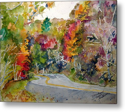 Landscape Metal Print featuring the painting Fall Road - Watercolor by Donna Hanna