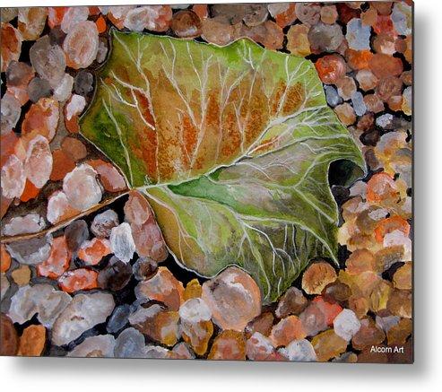 Leaf Metal Print featuring the painting Fallen Leaf by Brenda Alcorn