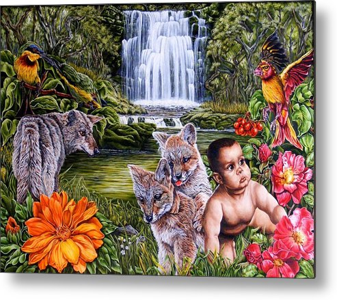 Fantasy Metal Print featuring the painting Family Picnic by Donald Dean