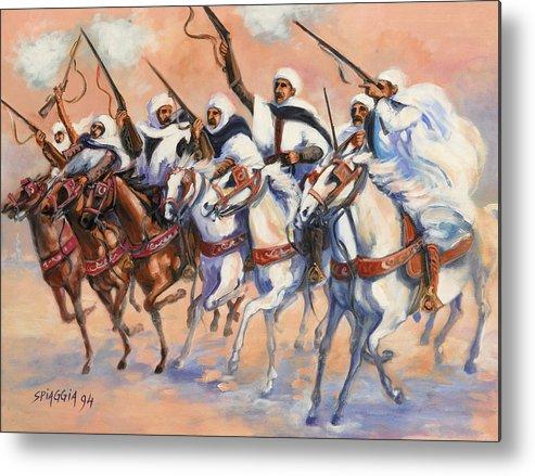 Fantasia Metal Print featuring the painting Fantasia Algerienne by Josette SPIAGGIA