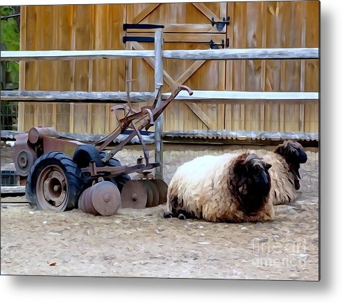 Abstract Metal Print featuring the photograph Farm Scene by Ed Weidman