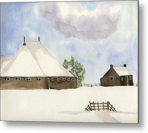Farmhouse Metal Print featuring the painting Farmhouse In The Snow by Annemeet Hasidi- van der Leij