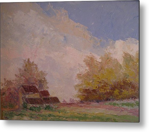 Farm Scene Metal Print featuring the painting Farmstead Hunterdon Nj by Belinda Consten