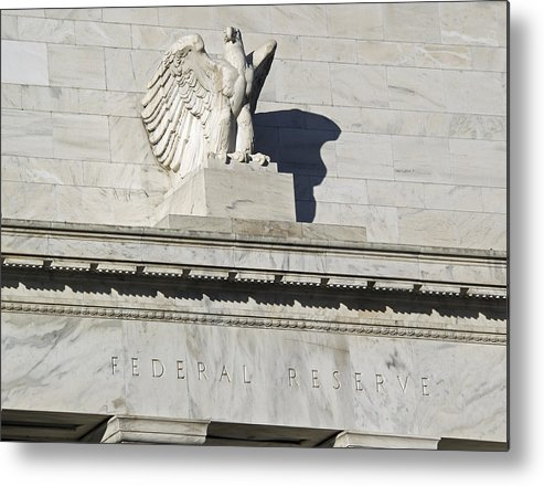 Fed Metal Print featuring the photograph Federal Reserve Eagle Detail Washington Dc by Brendan Reals