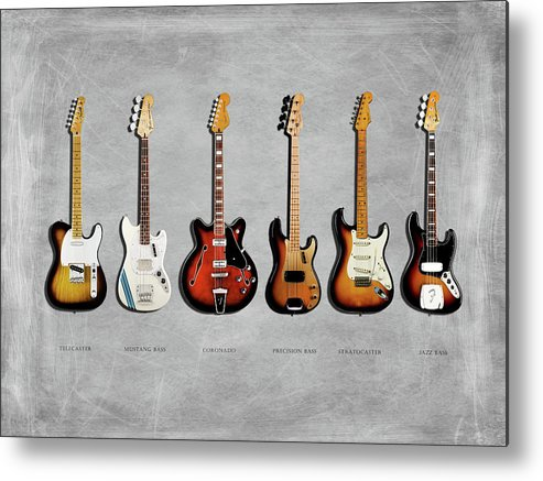 Fender Stratocaster Metal Print featuring the photograph Fender Guitar Collection by Mark Rogan