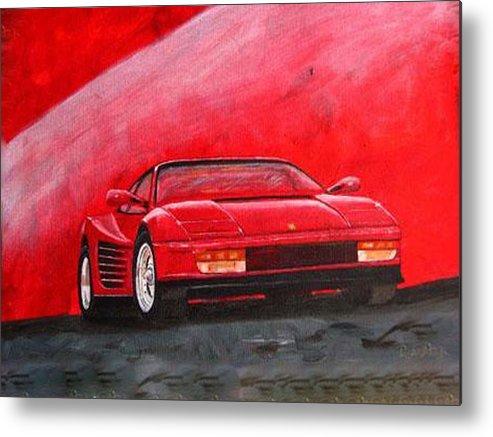 Ferrari Metal Print featuring the painting Ferrari Testarrossa by Richard Le Page