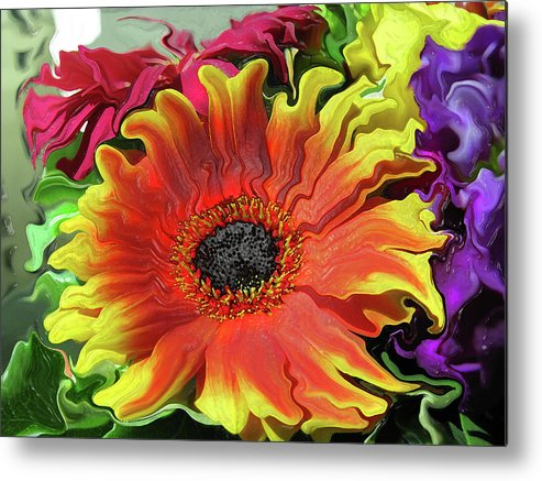 Abstract Metal Print featuring the photograph Floral Fiesta by Kathy Moll
