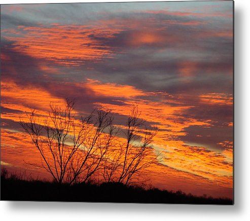 Red Metal Print featuring the photograph Fire Sunrise by Ana Villaronga