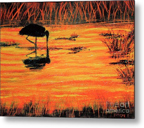 Sunset Metal Print featuring the painting Firey Water by Darlene Green