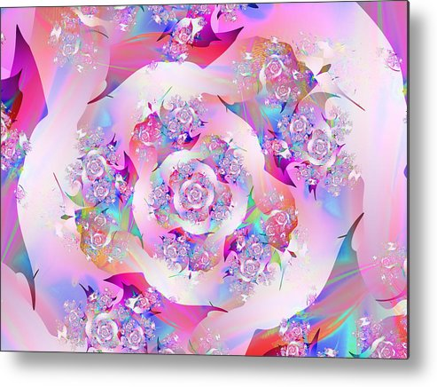 Fractal Metal Print featuring the digital art First Rose by Vicky Brago-Mitchell