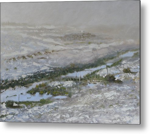 Atmospheric Ditch Fence Field Fog Gray Mist Montana Moody Nature Sbudued Snow Spindrift Storm Tonali Metal Print featuring the painting First Snow by Robert Bissett