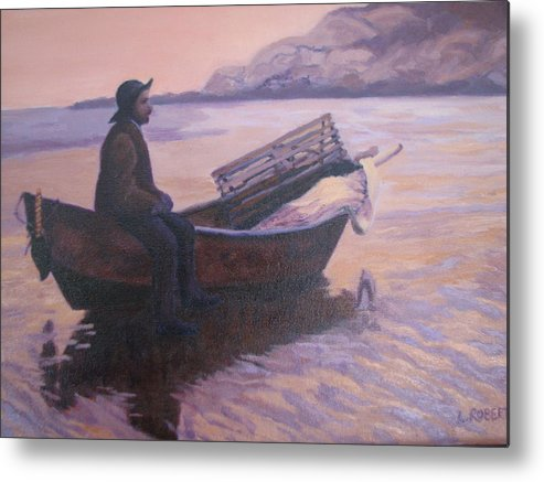 Landscape/ Portrait Metal Print featuring the painting Fisherman At Good Harbor Beach Gloucester Circa 1880 by Laura Roberts