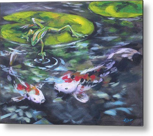 Koi Fish Water Waterscape Pond Lily Pad Nature Blue Red Green White Metal Print featuring the painting Fishing For Trouble by Alan Scott Craig