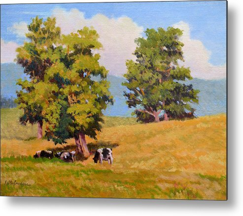 Landscape Metal Print featuring the painting Five Oaks by Keith Burgess