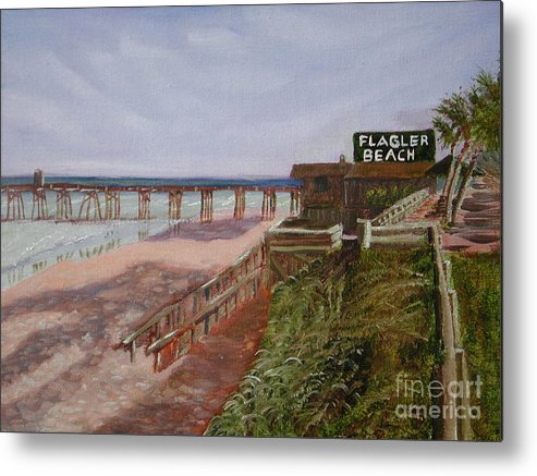 Landscape Metal Print featuring the painting Flagler Beach Pier 1 by Sodi Griffin