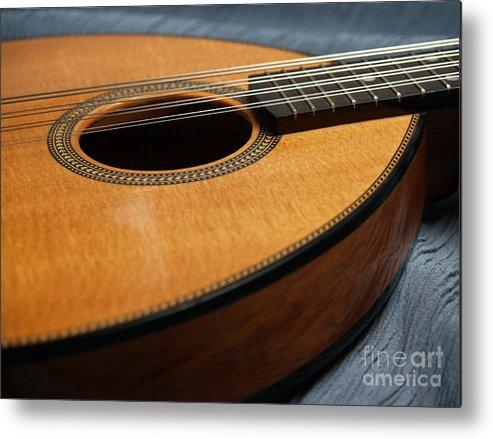 Mandolin Metal Print featuring the photograph Flatiron Mandolin On Blue by Anna Lisa Yoder