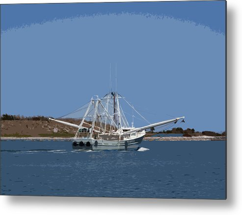 Shrimp Metal Print featuring the painting Florida Shrimper by Allan Hughes