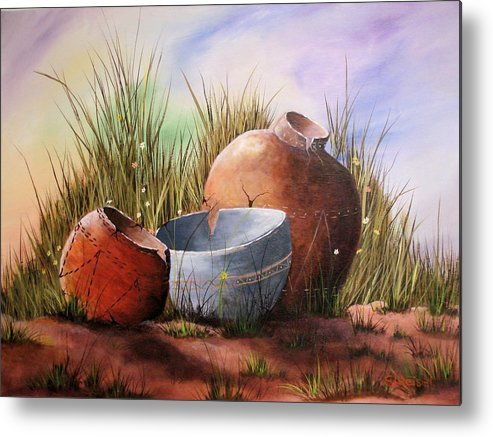 Still Life Landscape Clay Pot Broke Desert Exotic Flower Floral Sand Mexico Grass Purple Blue Green Metal Print featuring the painting Flower Pots by Sherry Winkler