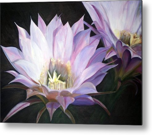Flower Metal Print featuring the painting Flowering Cactus by Fiona Jack