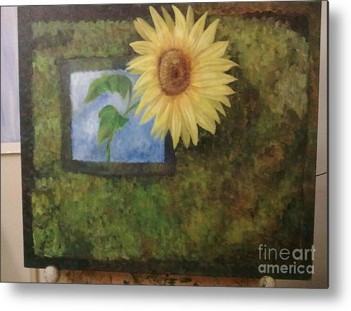 Sunflower Metal Print featuring the painting Flowerpower by Asha Porayath