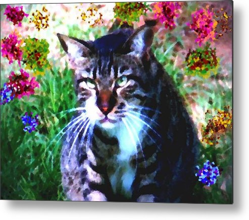 Cat Grey Attention Grass Flowers Nature Animals View Metal Print featuring the digital art Flowers And Cat by Dr Loifer Vladimir