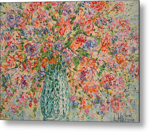 Flowers Metal Print featuring the painting Flowers In Crystal Vase. by Leonard Holland