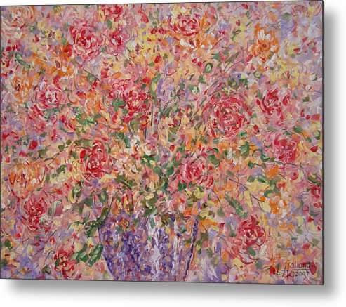 Flowers Metal Print featuring the painting Flowers In Purple Vase. by Leonard Holland