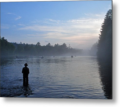 Flyfisherman Metal Print featuring the photograph Flyfishing In Maine by Glenn Gordon