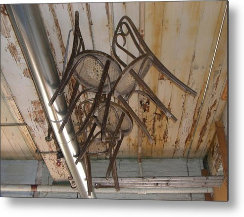 Chairs Metal Print featuring the photograph Flying Chairs by Nancy Ferrier