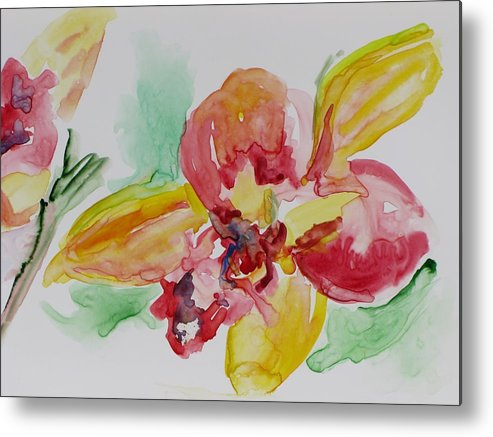 Floral Metal Print featuring the painting Flying Colors by Kathy Mitchell