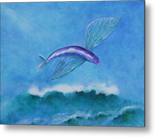 Fish Metal Print featuring the painting Flying Fish by Rf Hauver