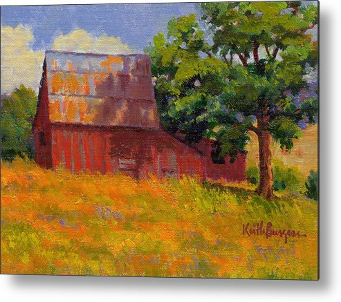 Landscape Metal Print featuring the painting Foglesong Barn by Keith Burgess