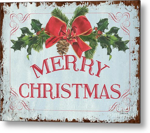 Pine Cone Metal Print featuring the painting Folk Merry Christmas by Debbie DeWitt