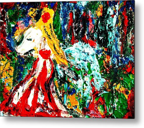 Figurative Surrealist Expressionism Conceptual Abstract Portrait Landscape Dance Love Poetry Nature Metal Print featuring the painting Folklore. by Carmen Doreal