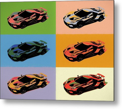 Ford Gt Pop Art Metal Print featuring the mixed media Ford Gt Pop Art by Dan Sproul
