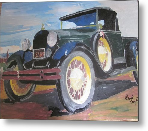 Ford Metal Print featuring the painting Ford Truck by David Poyant Paintings