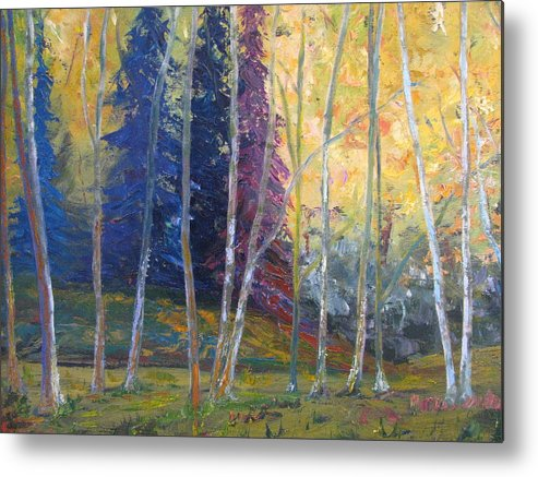 Impressionist Landscape Metal Print featuring the painting Forest At Twilight by Belinda Consten