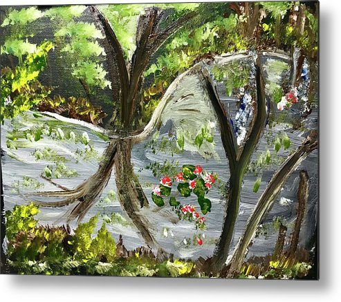 Pond Metal Print featuring the painting Forest Pond by Richard Dalton