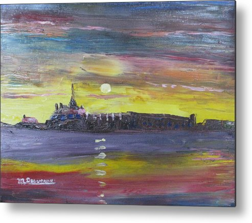 Forts Towns Cities Historical Sites People Food Soldiers Ships Water Fish Village Cannons Muskets Swords Uniforms Ladies Flowers Gardens Bread Birds Gun Powder Ocean. Metal Print featuring the painting Fortress Louisburg by Marshall Desveaux