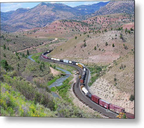 Railroad Metal Print featuring the photograph Freight Snaking Through Price Canyon Utah by Malcolm Howard
