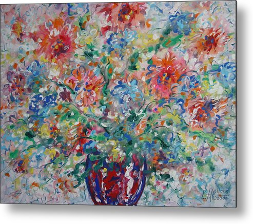 Flowers Metal Print featuring the painting Fresh Bouquet by Leonard Holland