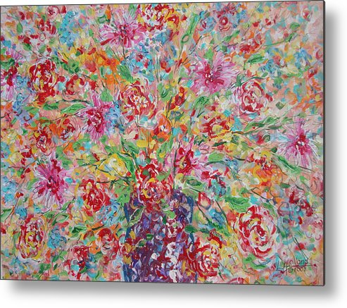 Painting Metal Print featuring the painting Fresh Flowers. by Leonard Holland
