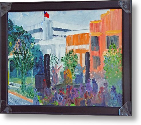 Cityscape Metal Print featuring the painting Friday Night With Ms Peggy Columbus Ga by James Eugene Moore