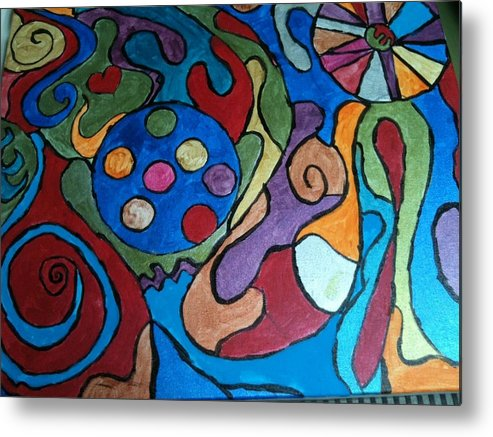 Abstract Metal Print featuring the painting Frinzy by Jennifer Briggs