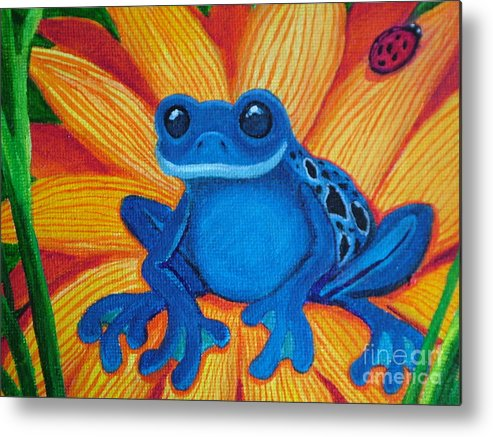 Frog And Flower Painting Metal Print featuring the painting Frog And Lady Bug by Nick Gustafson